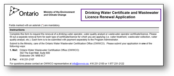 New Operator Certification Program Forms | OWWCO